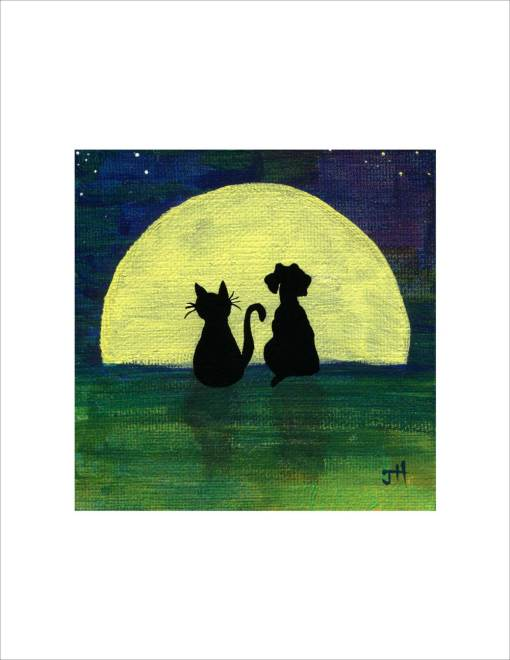 Cat and dog looking at the full moon art print