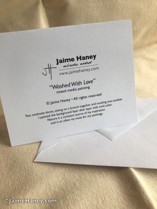 Back of Jaime Haney note cards