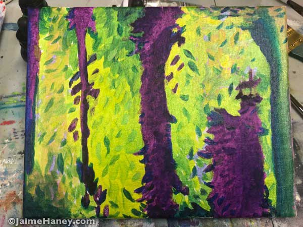 intuitive painting developing into trees