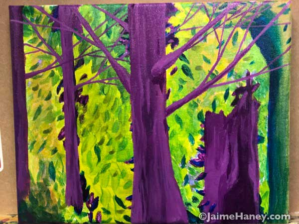 intuitive painting fractured forest of purple trees.