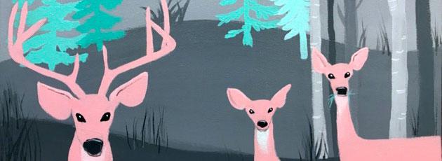 Nursery painting of deer in the woods