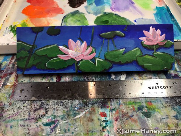 waterlilies painted on wood