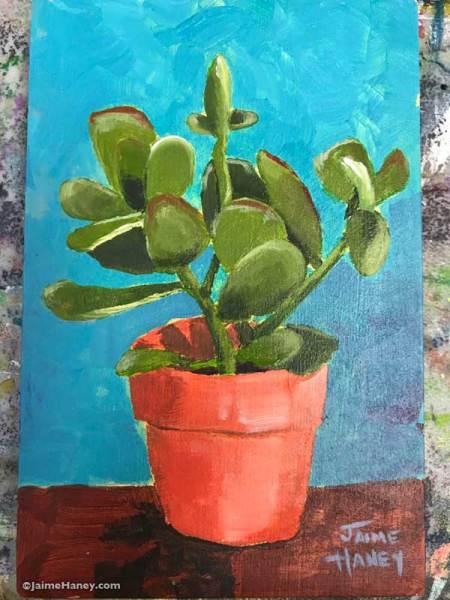 jade plant painting on wood
