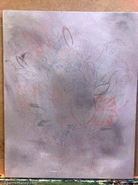 sketch of bridal bouquet