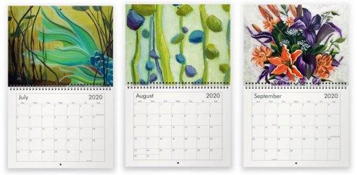 2020 art calendar months