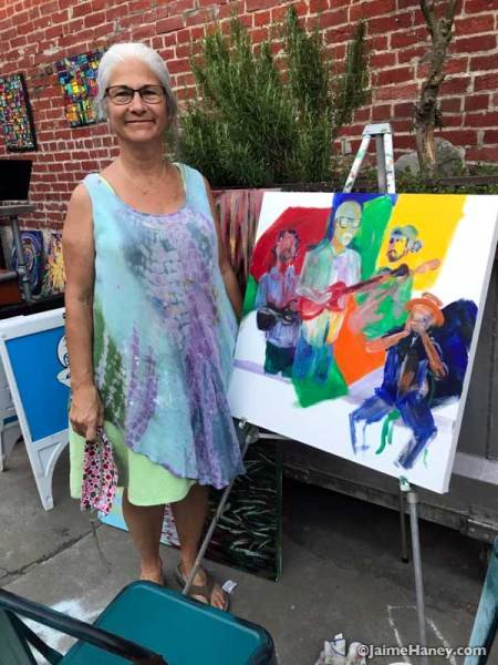 Sandy Dodd with her painting of Cinco De Blues