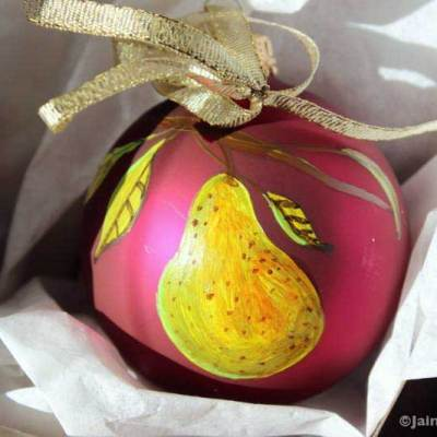 pear fruit ornament shown in box