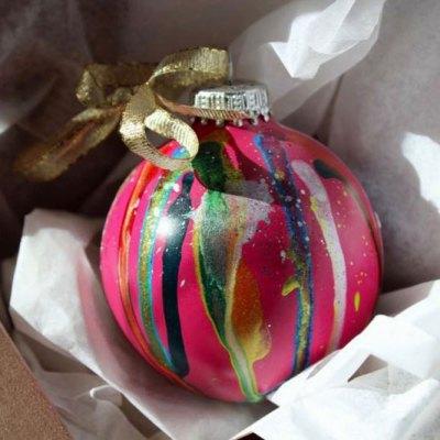 Pink graffiti style Christmas ornaments