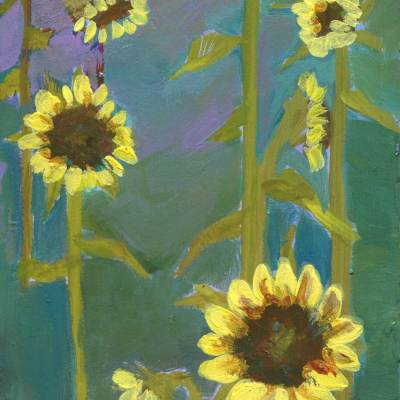Abstract sunflower field painting
