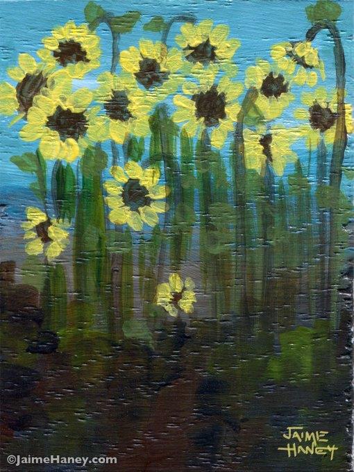 sunflowers in a field art block