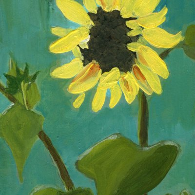 single yellow sunflower painting on wood