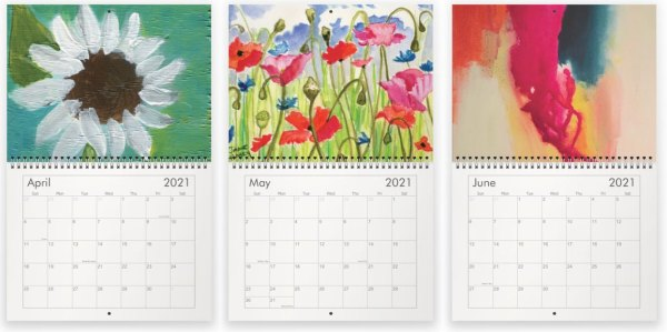 April, May and June paintings in the 2021 calendar by Jaime Haney
