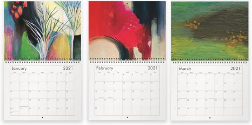 January, February and March paintings in the 2021 calendar by Jaime Haney