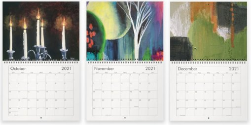 October, November and December paintings in the 2021 calendar by Jaime Haney