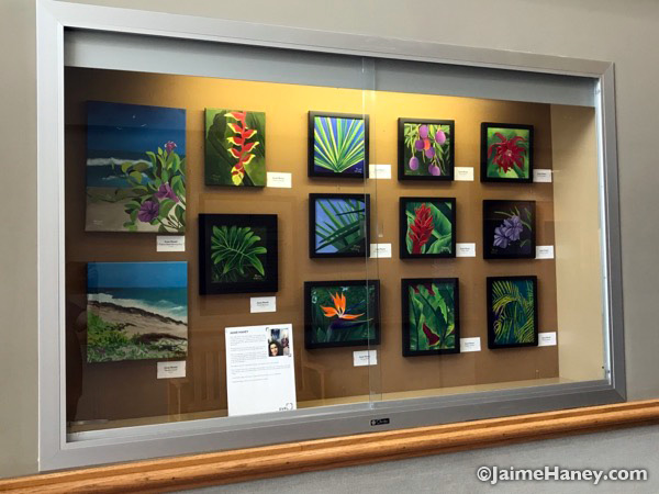 The art exhibit case at Red Bank Library