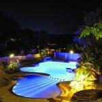 piscine de nuit - camping des chènes