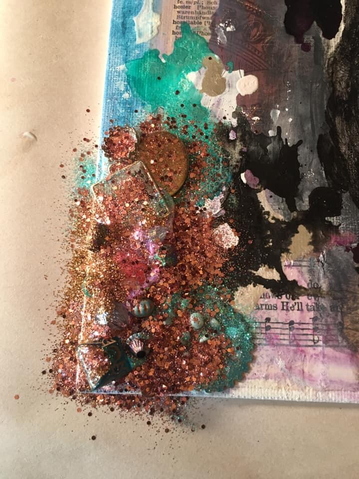Glitter over gel medium
