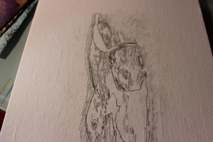 mixed media art tutorial horse drawing
