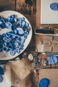 mixed media art materials blue
