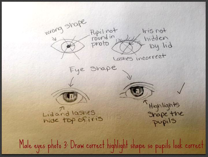 male eye correct highlight drawing