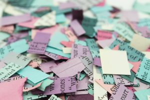 pile of cut paper