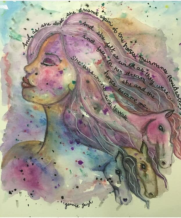 art mediums watercolor woman with horses