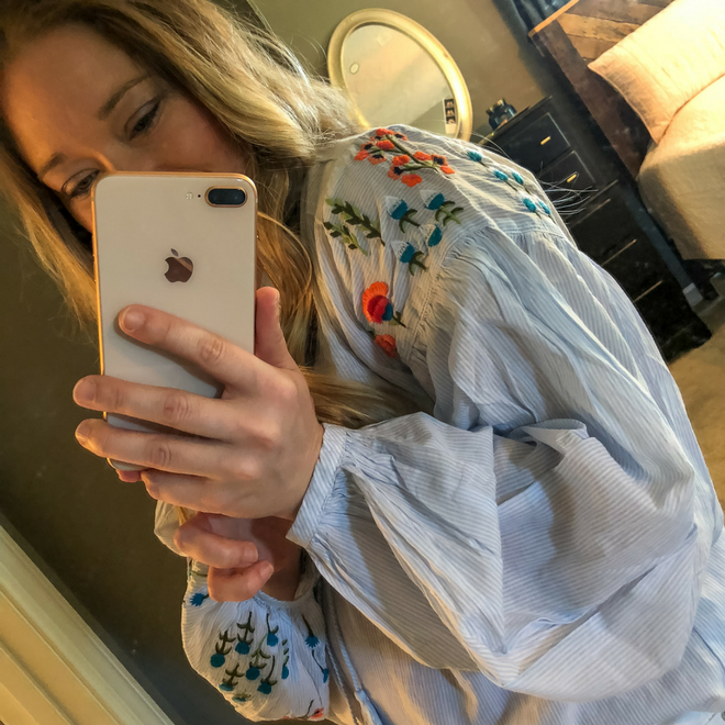 Spring Transition Outfit: The Embroidered Top