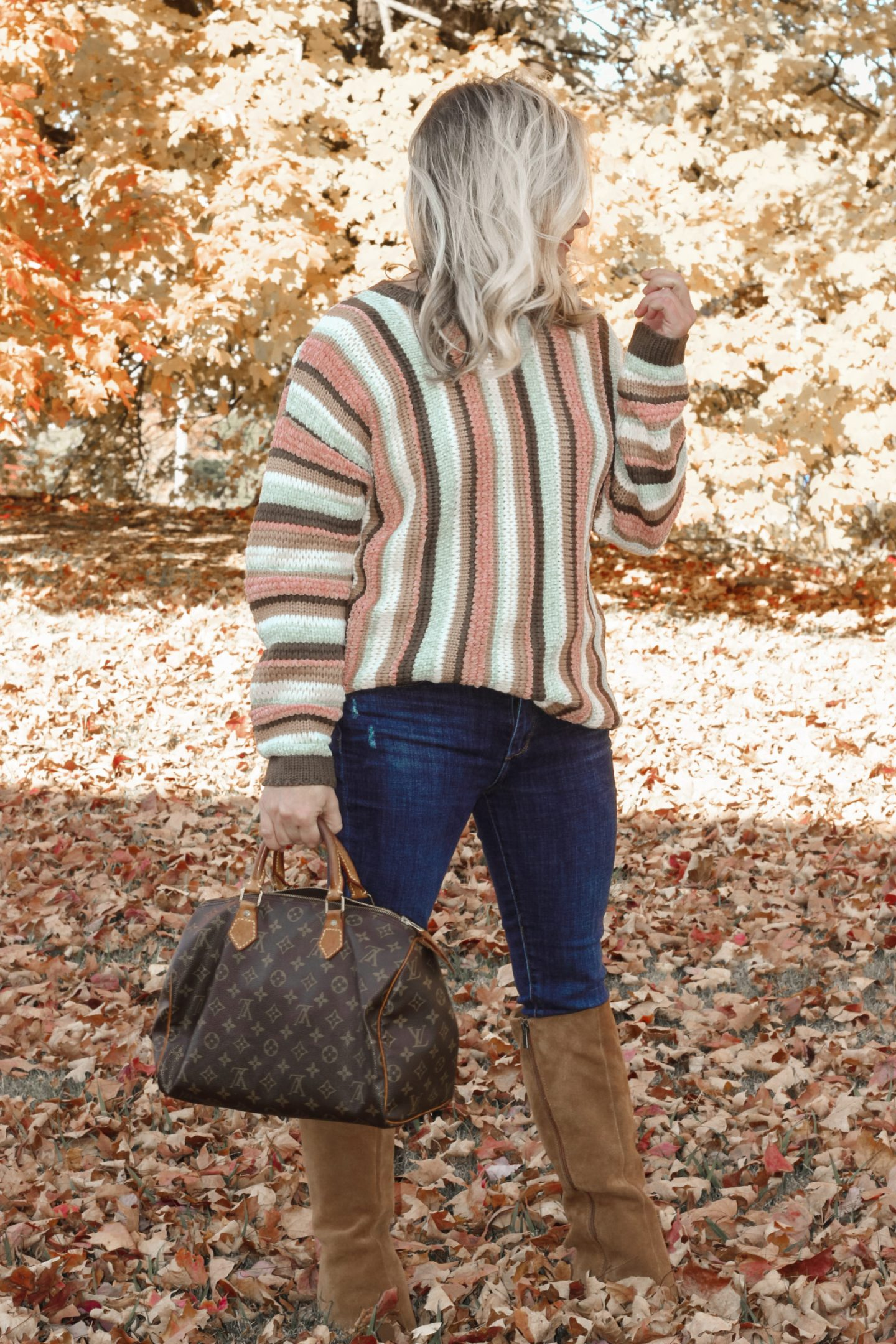 striped chanille sweater