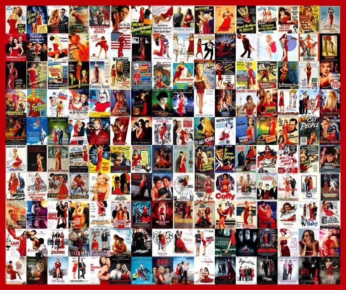 Carteles de película con vestido rojo