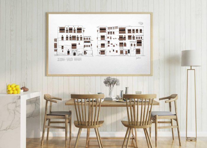 Bazan Lane house art print