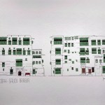 Art print watercolor of Jeddah AlBalad facade in Saudi Arabia Indian ink and green color mashrabiyah