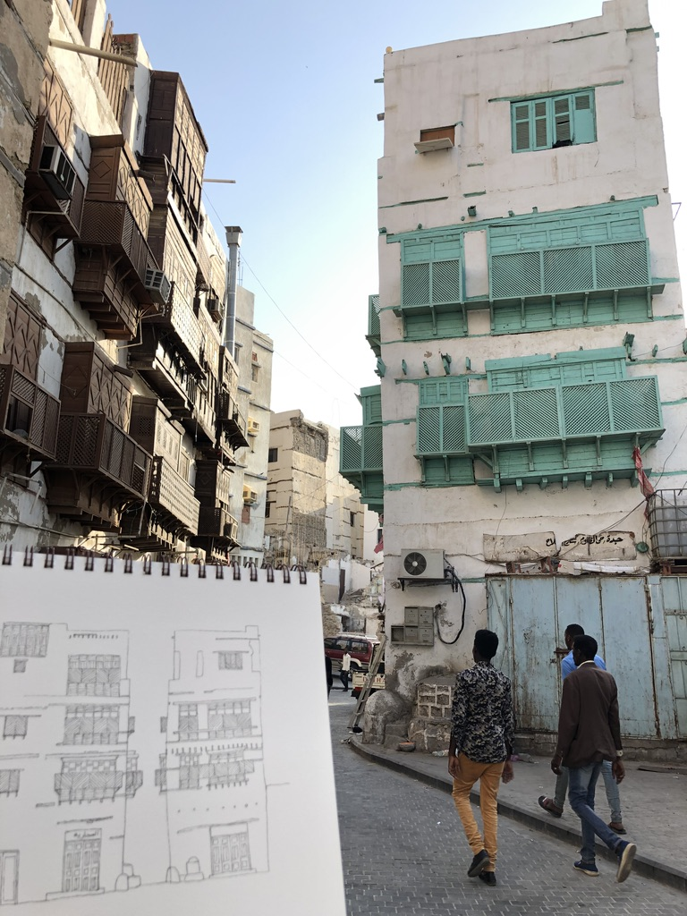 Notebook urban sketch of building in Jeddah AlBalad