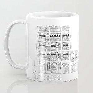 11 oz. white mug with printed design of facades of Jeddah AlBalad by Jaimesan