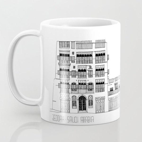 Coffee mug about Jeddah AlBalad facade 1 black ink sketch with Mashrabiyah