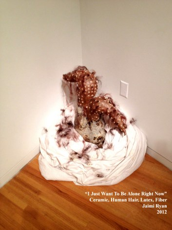 I Just Want to Be Alone Right Now. Stoneware, Latex, Human Hair, Fiber. 2012.