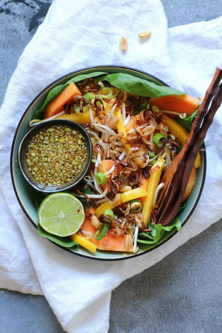 Spinazie papaya en tauge salade www.jaimyskitchen.nl