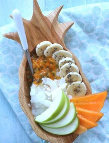 Kokos rijst pudding met tropisch fruit www.jaimyskitchen.nl