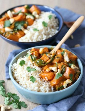 Recept Indiase vegetarische pompoen en spinazie curry www.jaimyskitchen.nl