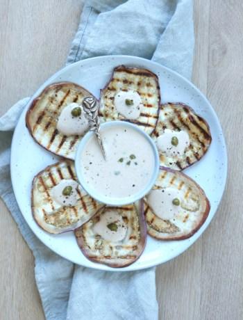Aubergine tonnato recept www.jaimyskitchen.nl