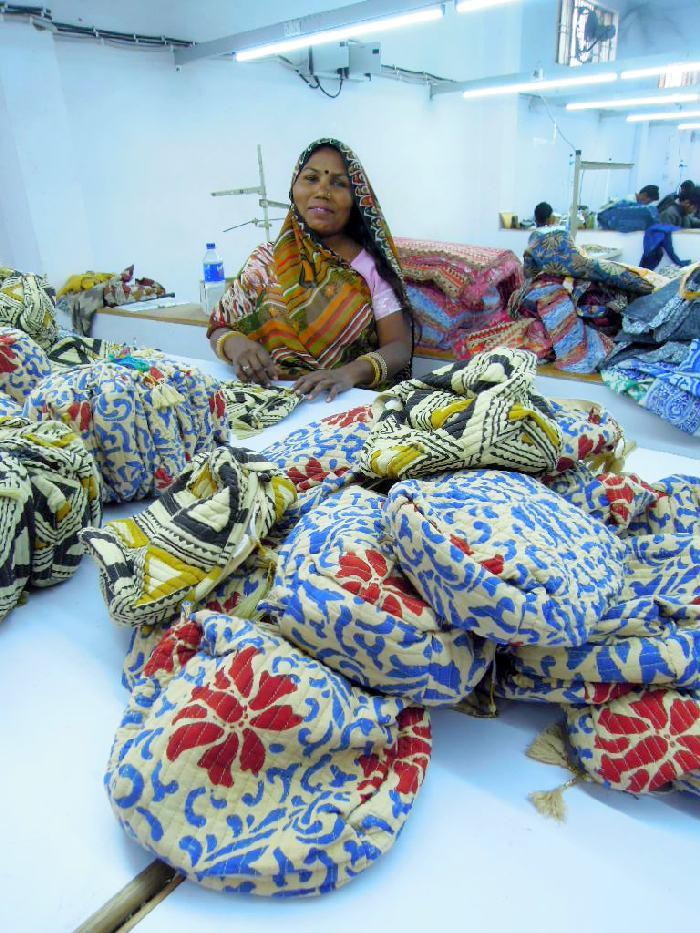 Ouvrière textile à Jaipur