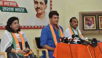 Ramlal Sharma and Vimal Katiyar addressing the media at BJP headquarters in Jaipur on Wednesday.