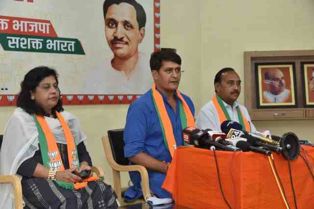 Ramlal Sharma and Vimal Katiyar addressing the media at BJP headquarters in Jaipur on Wednesday.