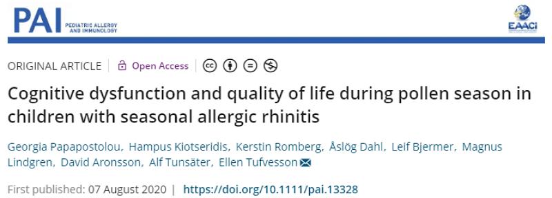 jair空氣清淨機季節性變應性鼻炎患兒花粉季節的認知功能障礙