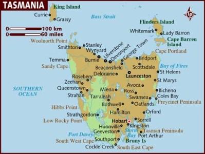 Carte de Tasmanie - Jaiuneouverture