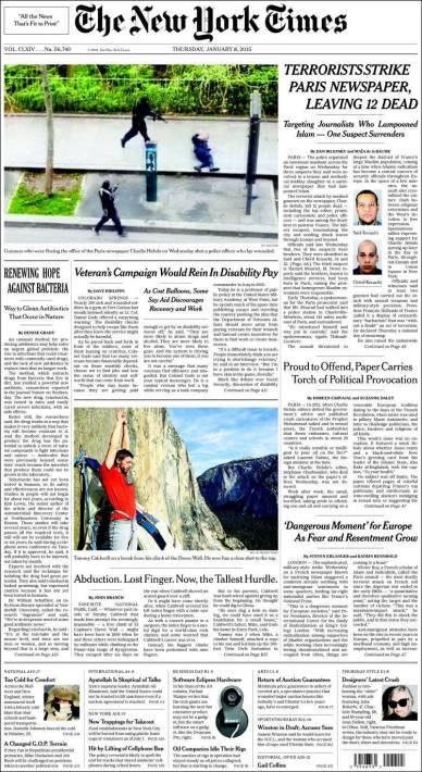 The New York Times - New York - Etats Unis - Je suis Charlie