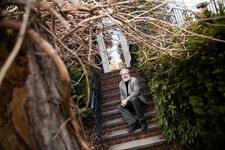 George Church is Professor of Genetics at Harvard Medical School and Professor of Health Sciences and Technology at Harvard University. He is pictured outside his home. Stephanie Mitchell/Harvard Staff Photographer