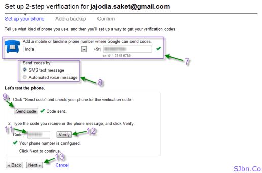 Google 2-step verification - Your Mobile Phone Verification