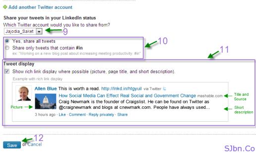 LinkedIn, Twitter settings