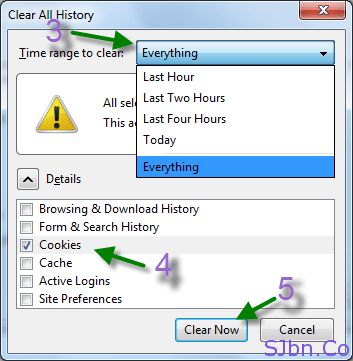 Firefox - Clear Recent History - Cookies