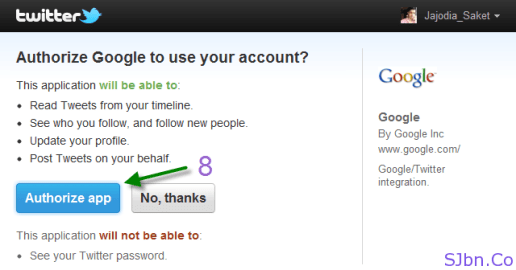 Authorize Google to use your account - Authorize app